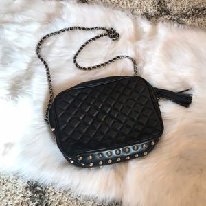 Black Studded Quilted Tassel Purse